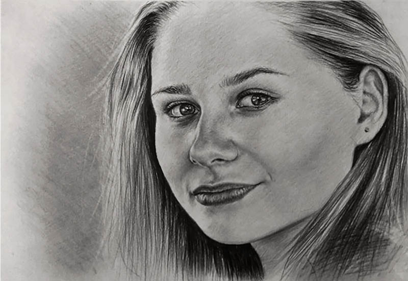 custom pencil portrait of a woman with her hair back