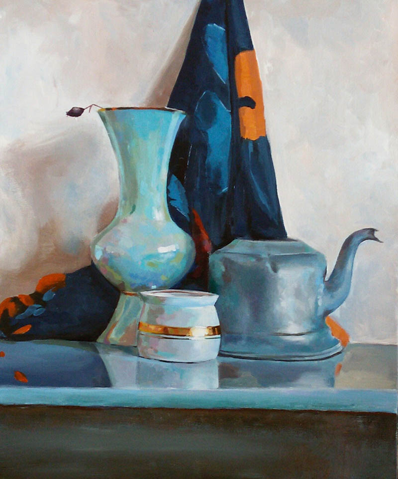 custom acrylic painting of vase and teapot