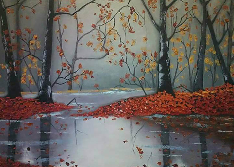 Oil painting autumn