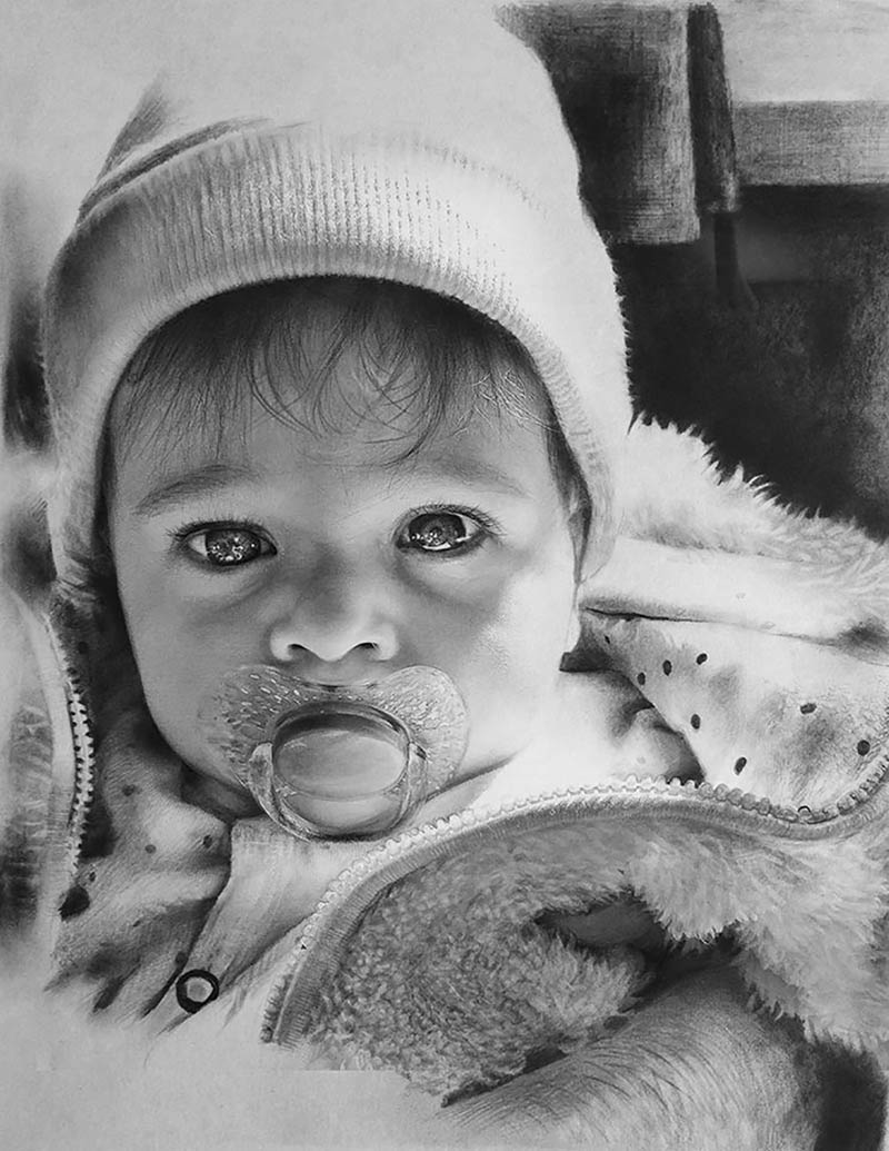 custom pencil drawing of a baby with a pacifier