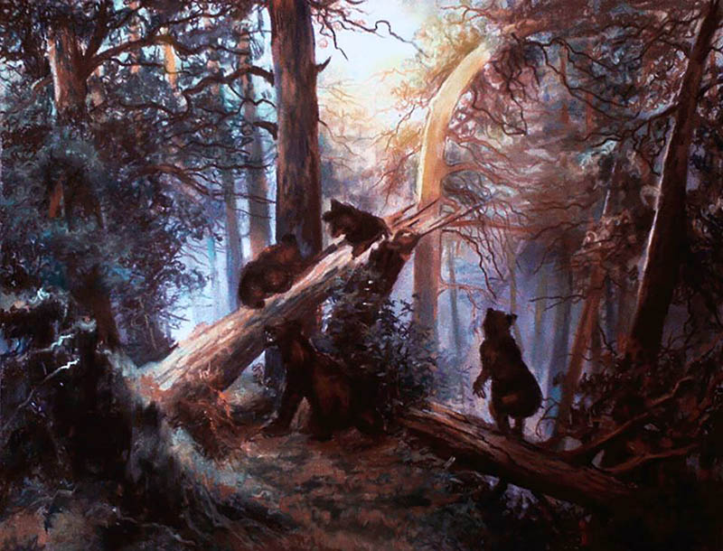 Ritratto ad olio da foto avventura nella foresta