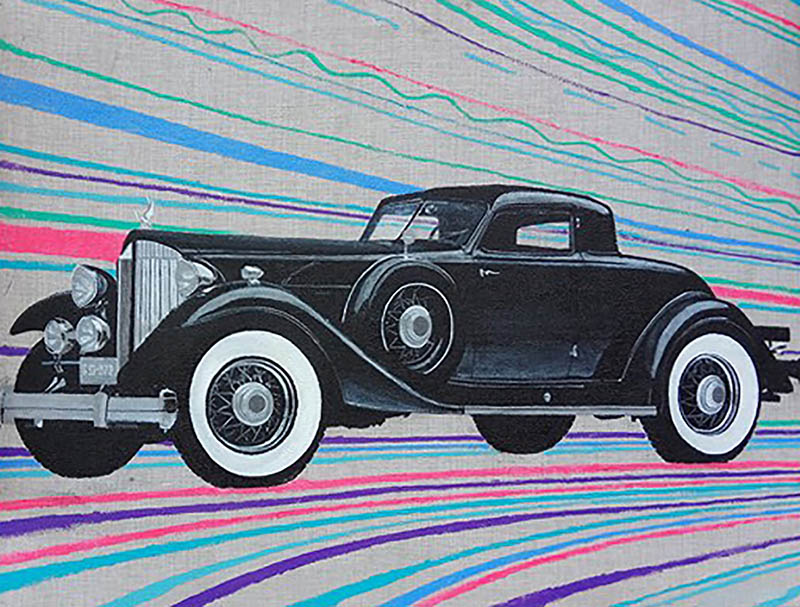 Handmade oil painting of an old black car