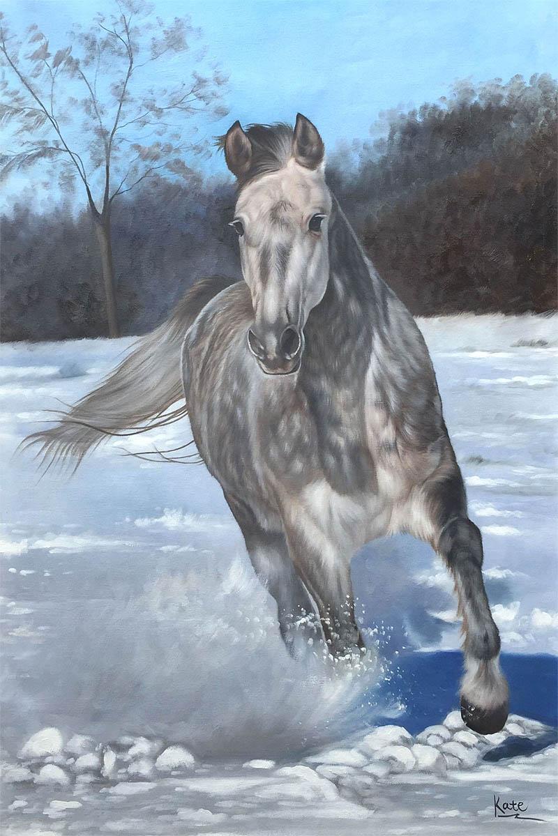 cavallo ritratto natura olio da foto