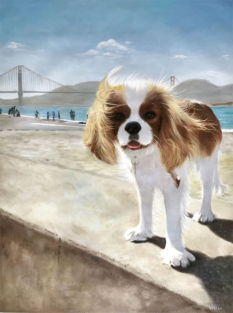 an oil painting of a small dog happy by the beach