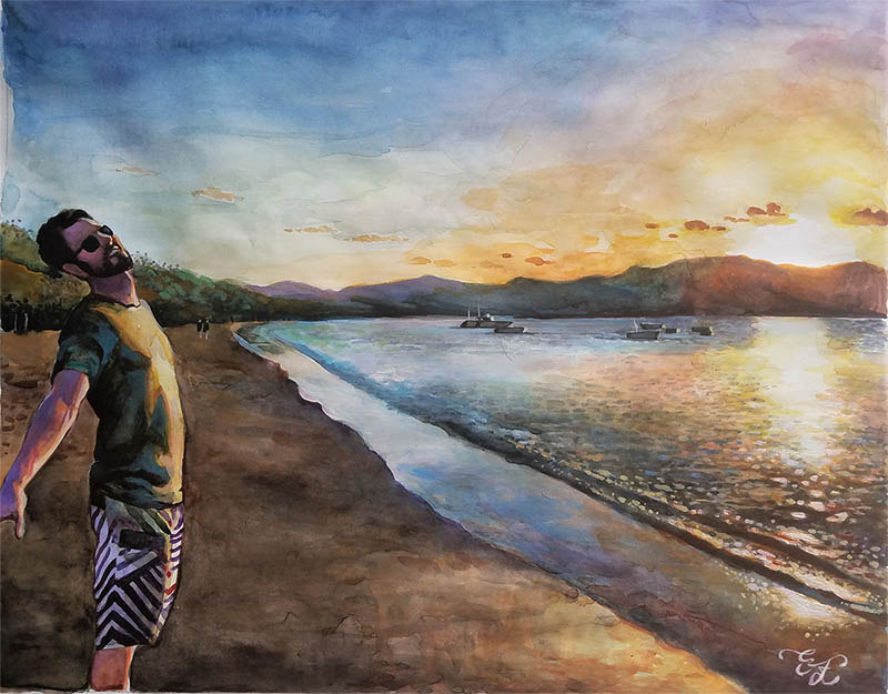 a watercolor painting a guy on a beach sun fun