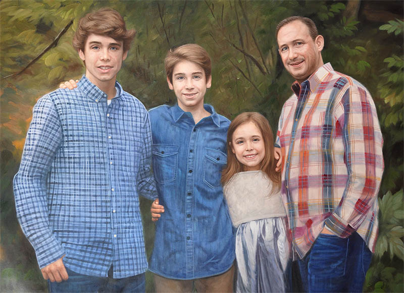 an oil painting of a family in the woods