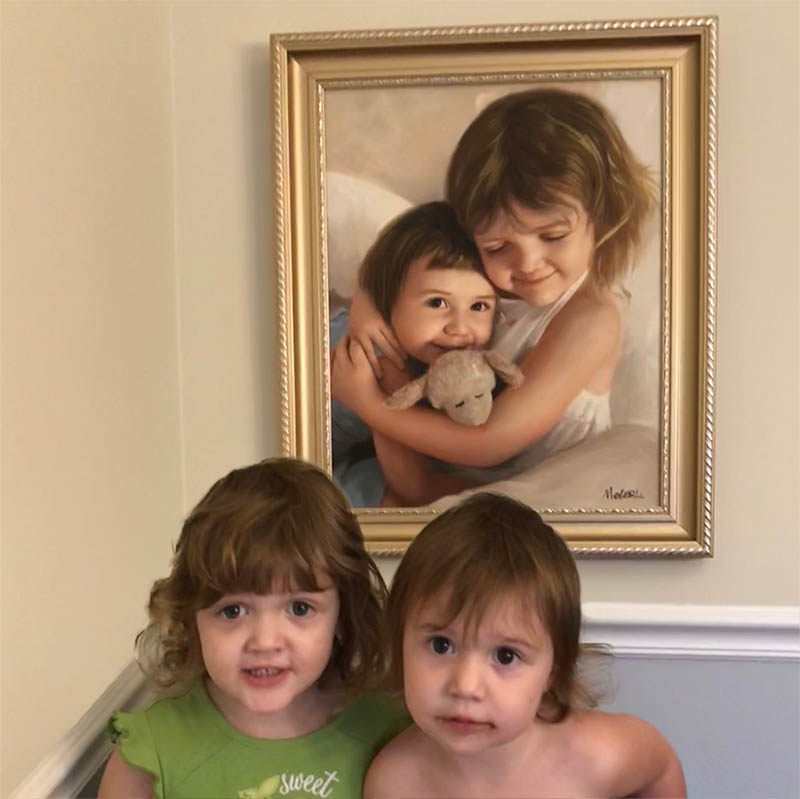 an oil painting of two kids siblings
