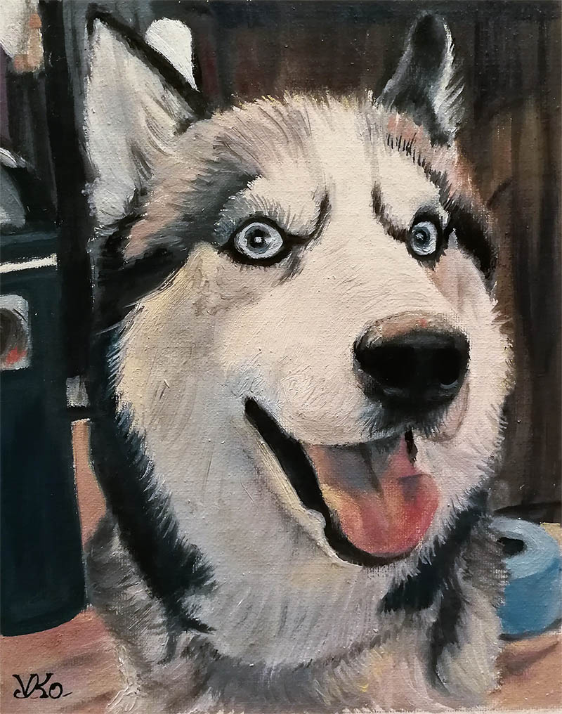 an oil painting of a husky dog happy blue eyes