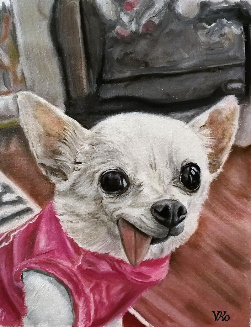 an oil painting of a dog sticking out a tongue