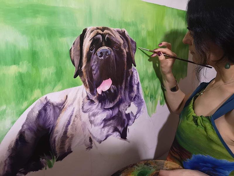 le chien en tableau de peinture
