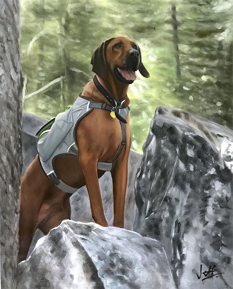 an oil painting of a majestic dog