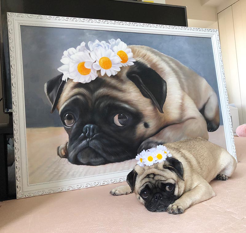 an oil painting of a pug with daisy flower crown