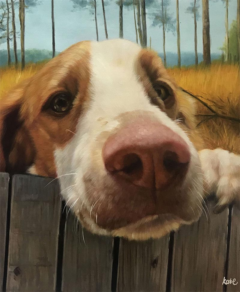 an oil painting of a dog fence