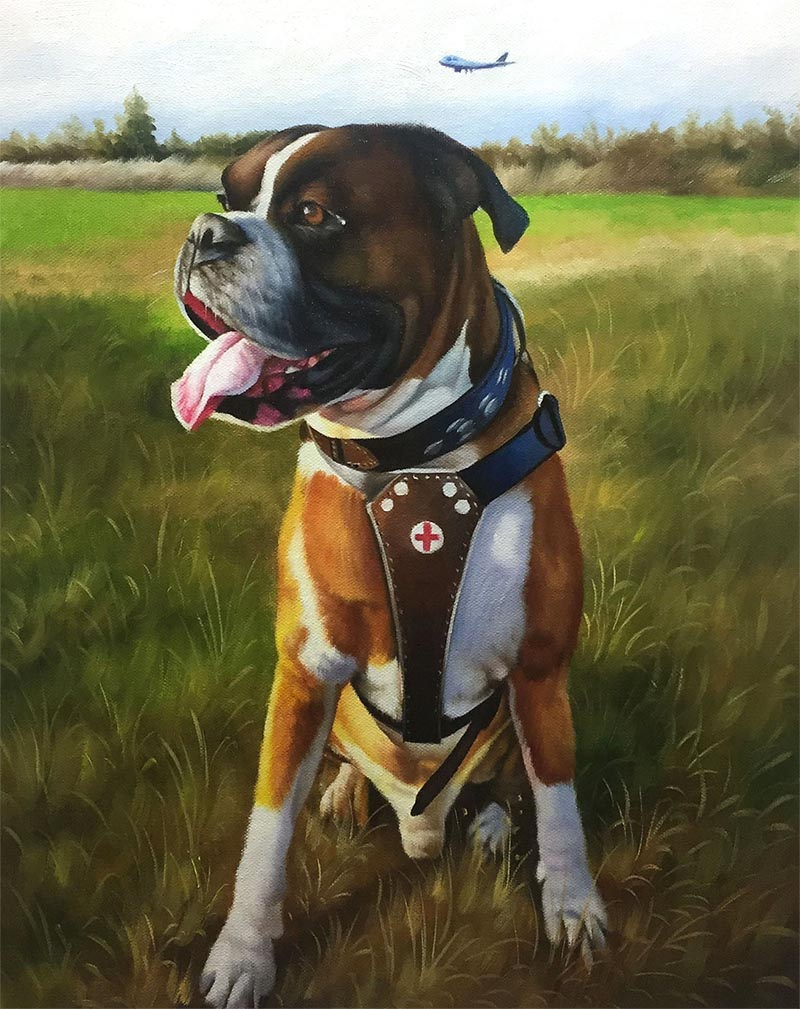 an oil painting of a dog in a field