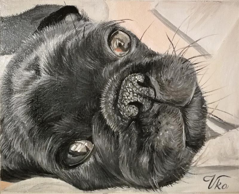 an oil painting of a small french english bulldog