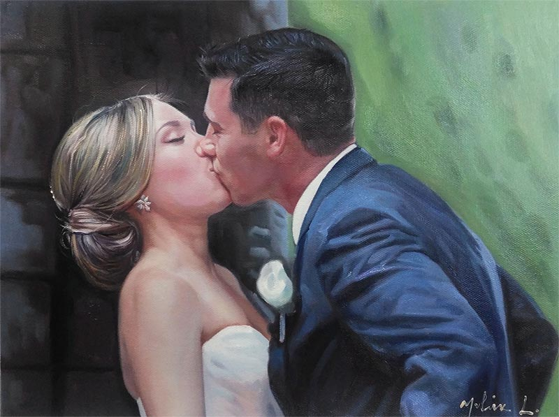 an oil painting of a photo couple wedding