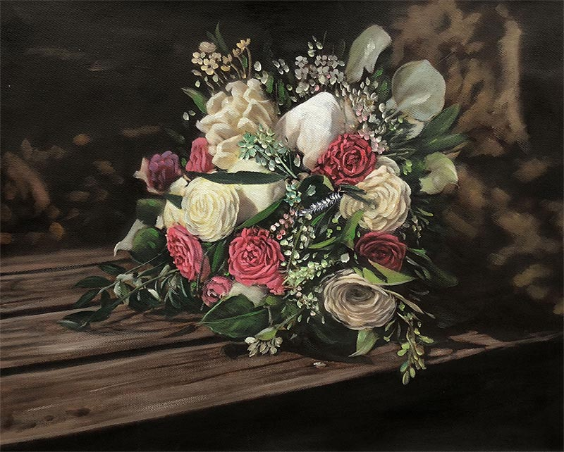 an oil painting of a flower bouquet