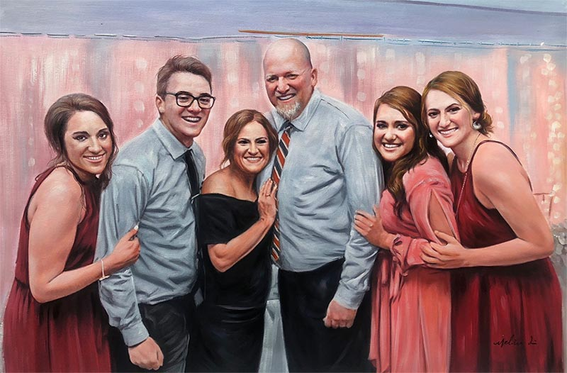 an oil painting of a family prom