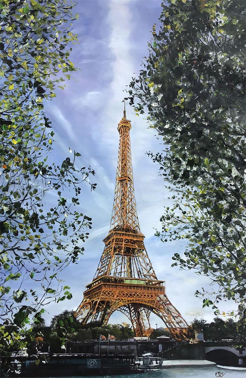 an oil painting of Eiffel tower
