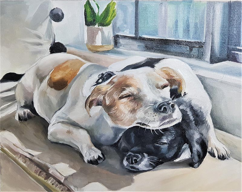 an oil painting of two dogs brown and black
