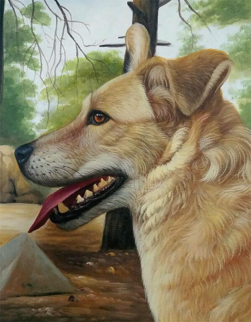 paint your pet - an oil painting of a light brown dog