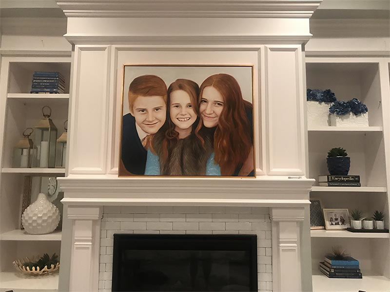 an oil painting of kids family