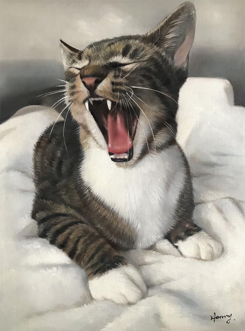 an  oil painting of a cat yawning