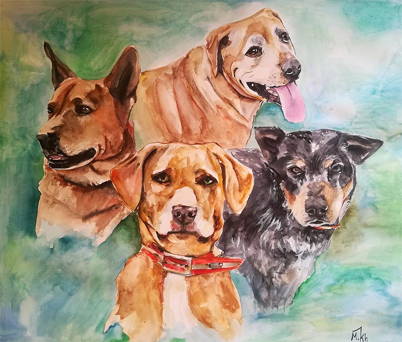 a watercolor painting of four dogs