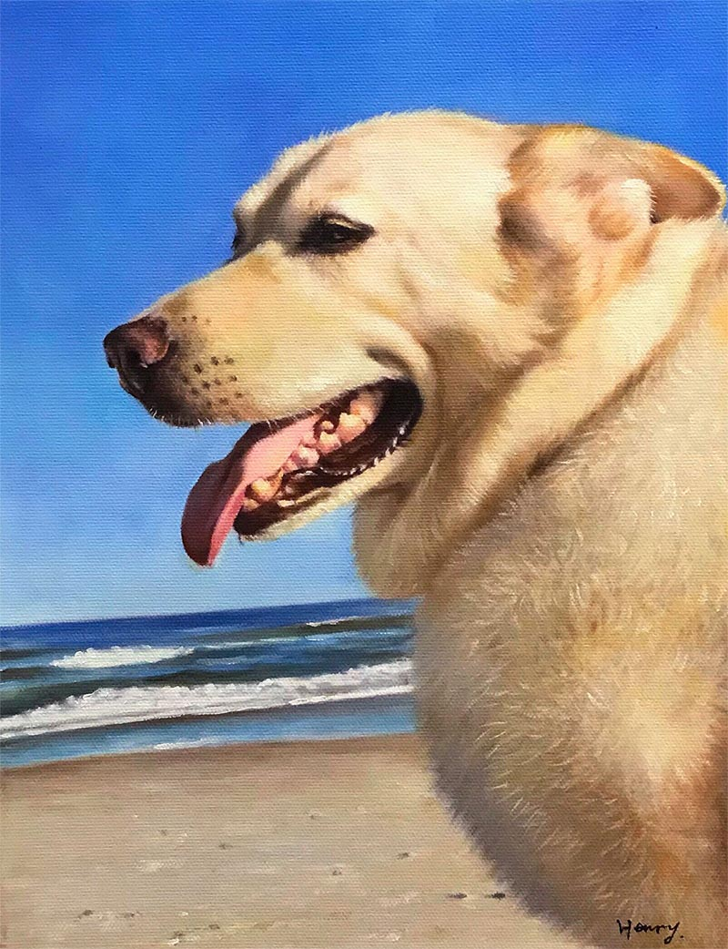 an oil painting of a white lab on a beach