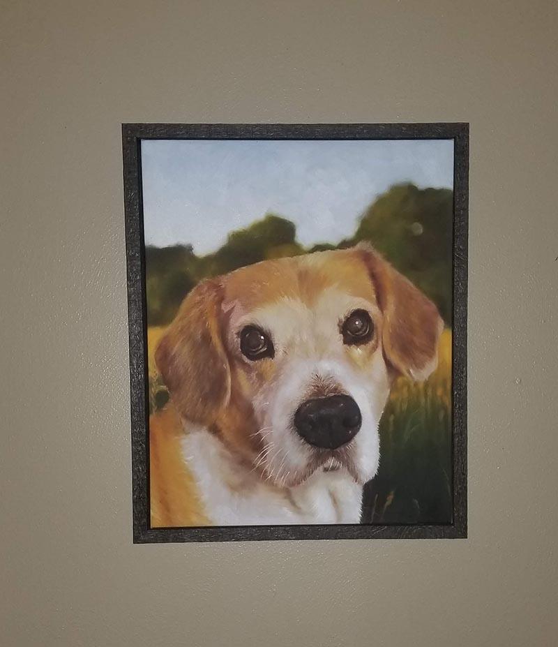 an oil painting of an elder dog light brown