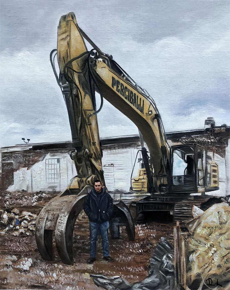an oil painting of a tractor