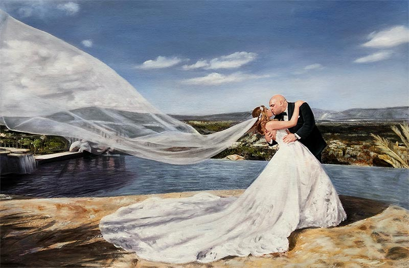 acrylic painting bride and groom kissing by the beach