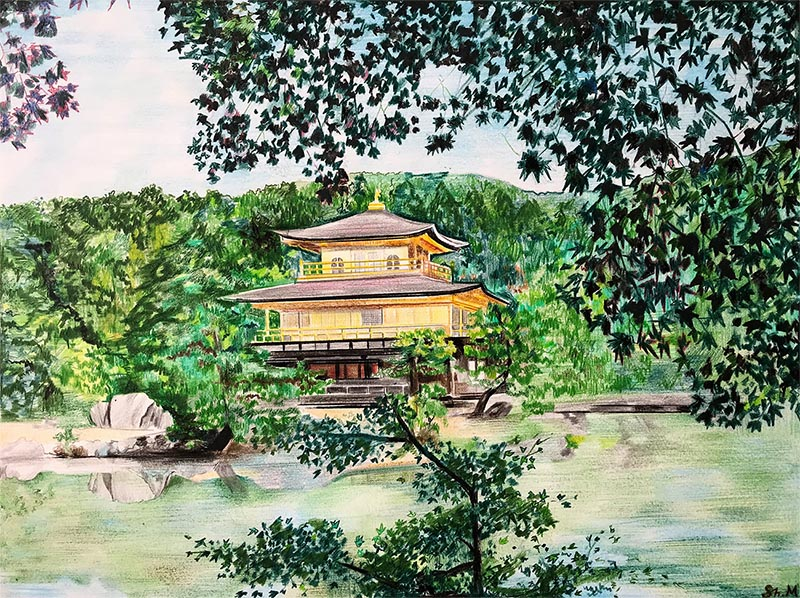 Beautiful color pencil drawing of a landscape