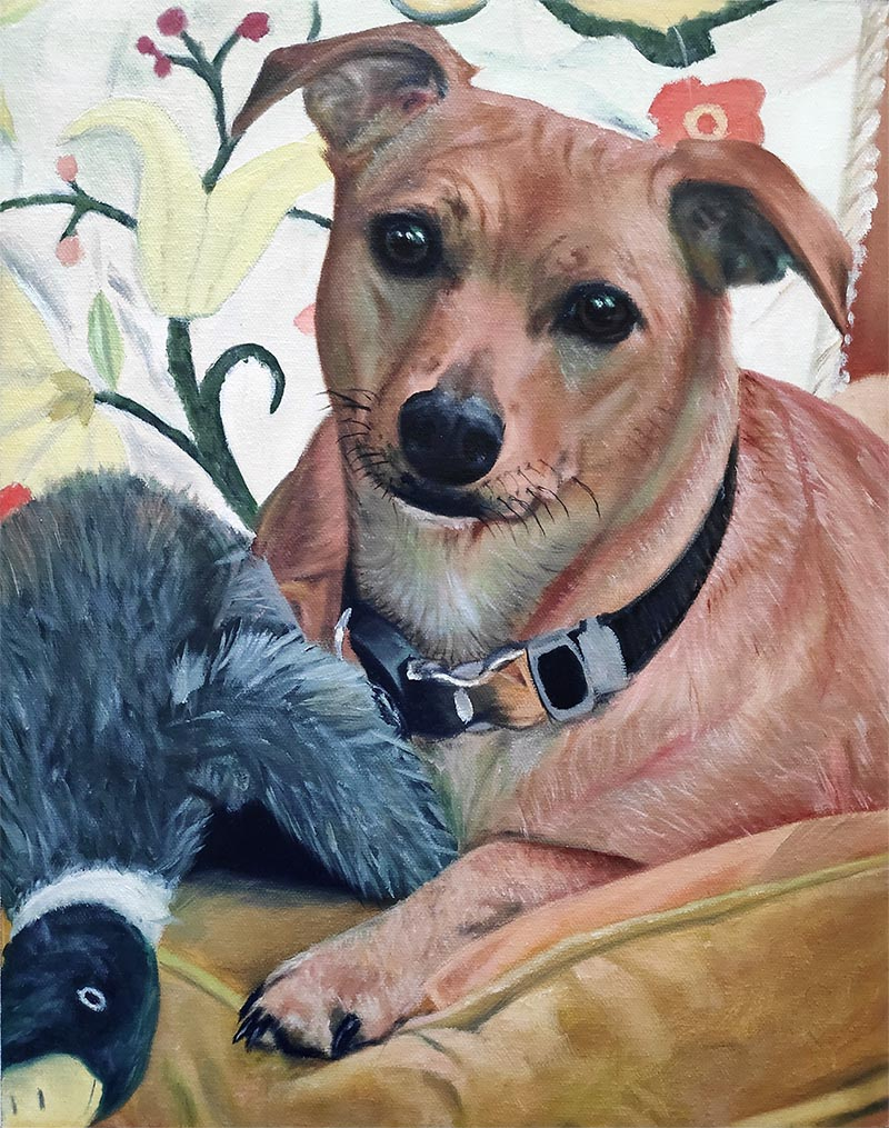 an oil painting of a dog with his toy duck