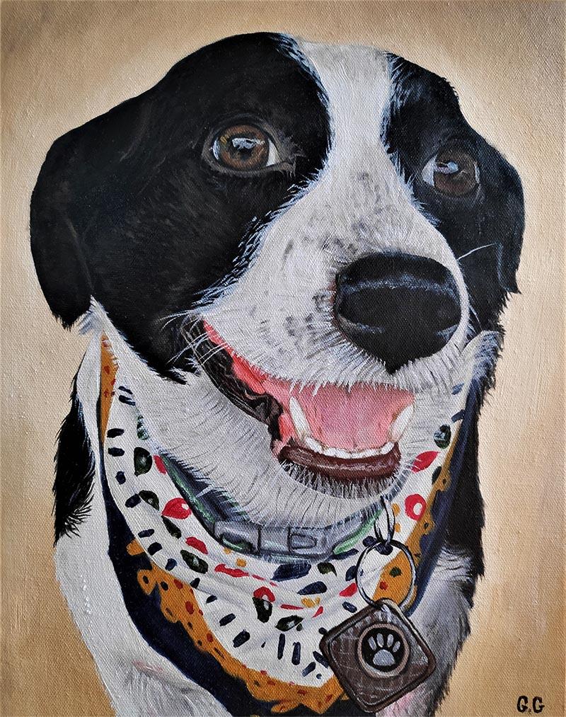 a handmade oil portrait of a mutt with bandana