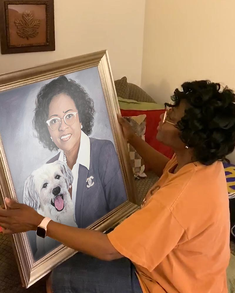 Custom handmade pastel painting of a lady with a dog
