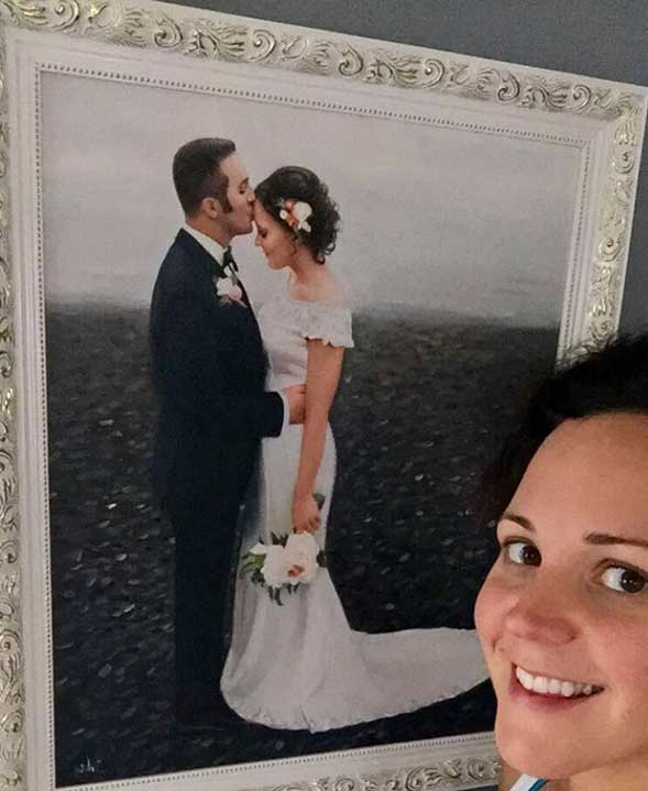 an oil painting of the groom kissing the bride on the head