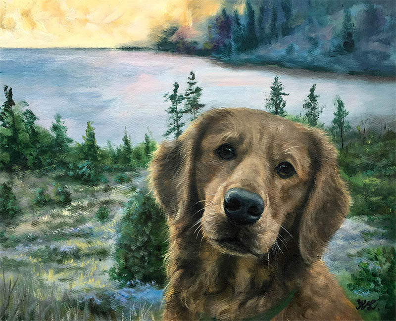 an oil painting of a dog landscape lake river mountain