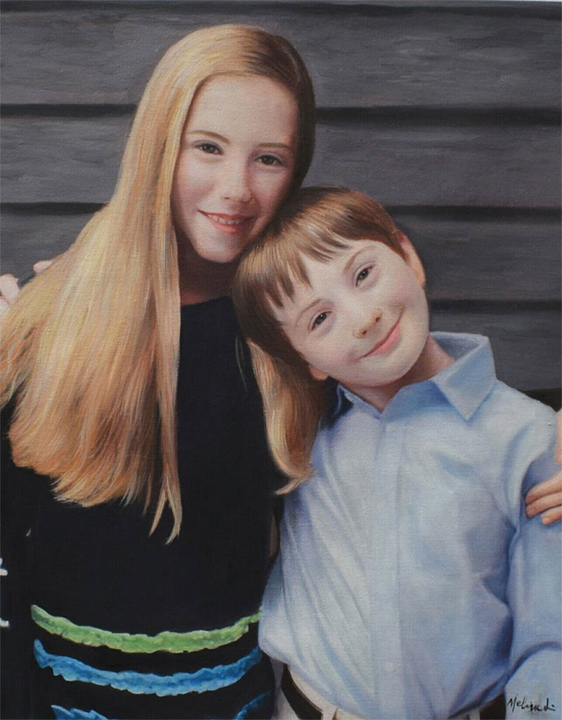 an oil painting of two siblings side by side sister brother