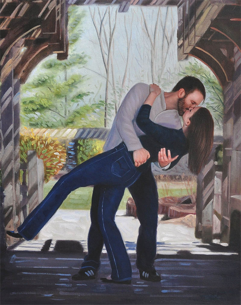 an oil painting of a couple romantic kiss