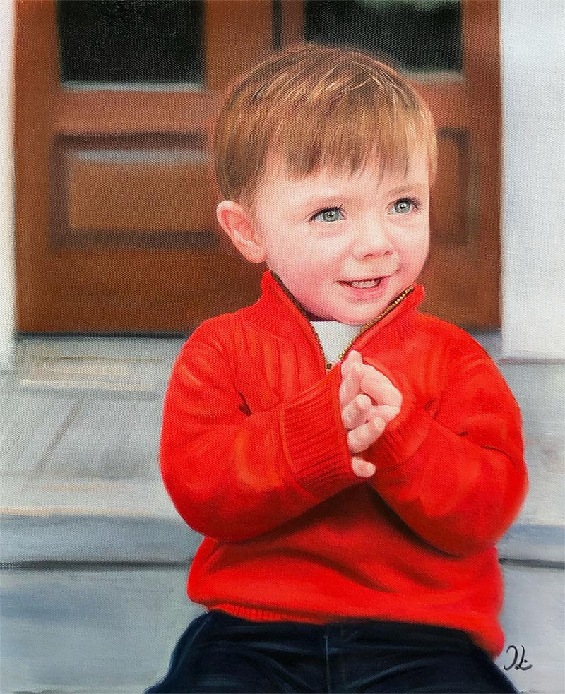 an oil painting of a child in a red tshirt