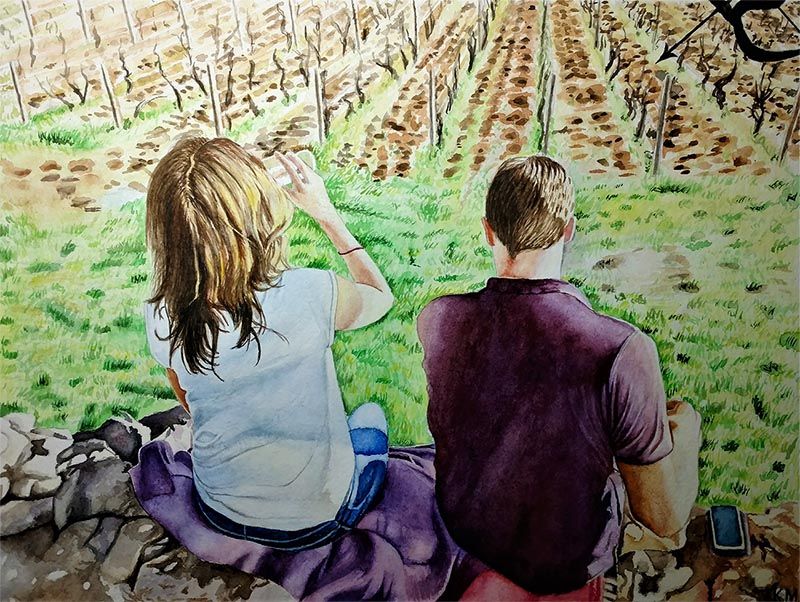 custom watercolor painting of couple by farm field
