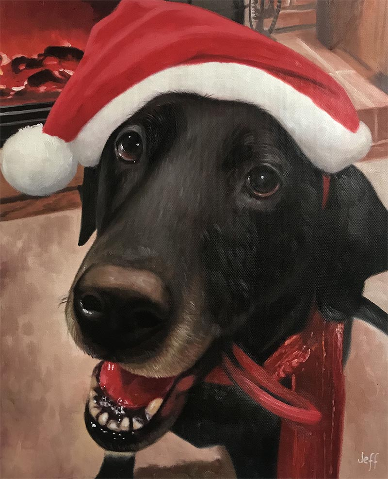 an oil painting of a dark dog with a christmas hat