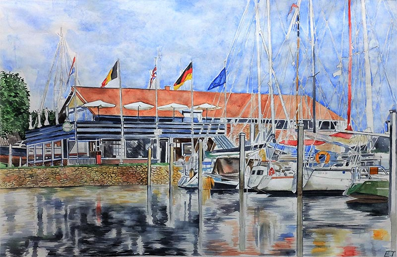 custom watercolor painting of a boat dock