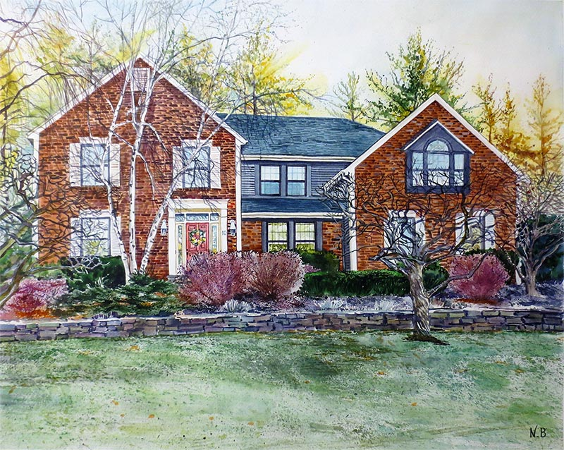 a watercolor painting of a house turn into art