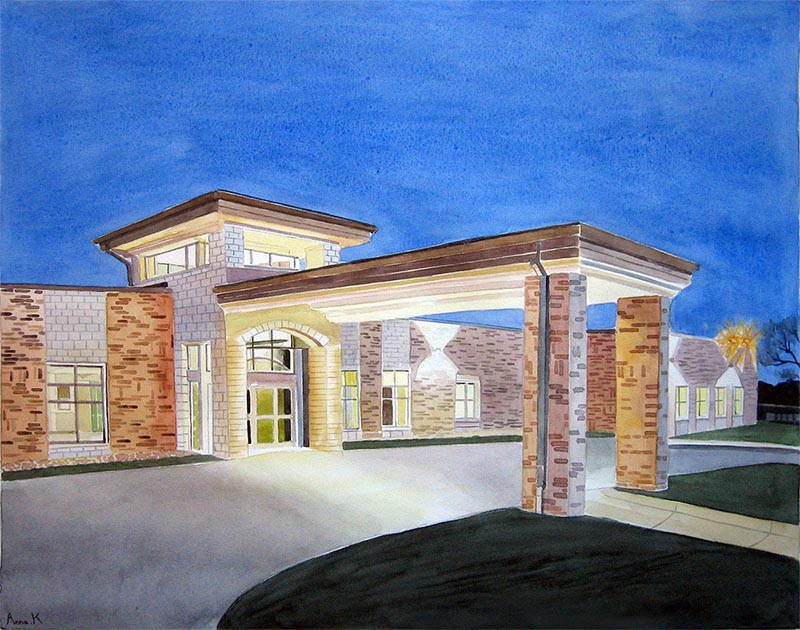 a watercolor painting of a hospital photos to canvas