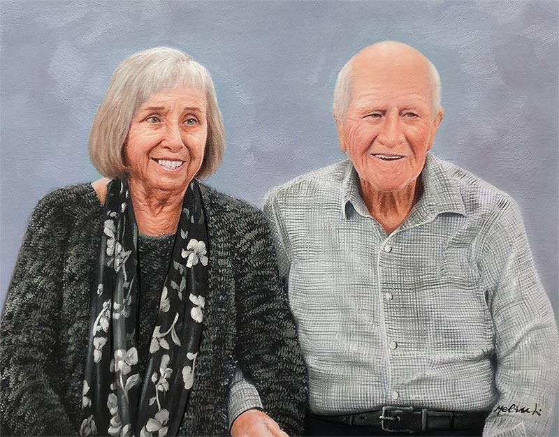 an oil painting of an elder couple turn photo to art