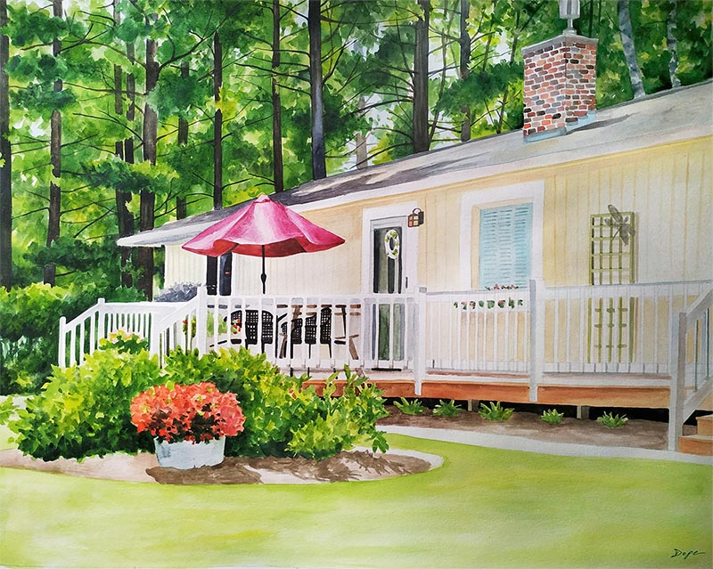 a watercolor painting of a house in the woods convert your photo into art