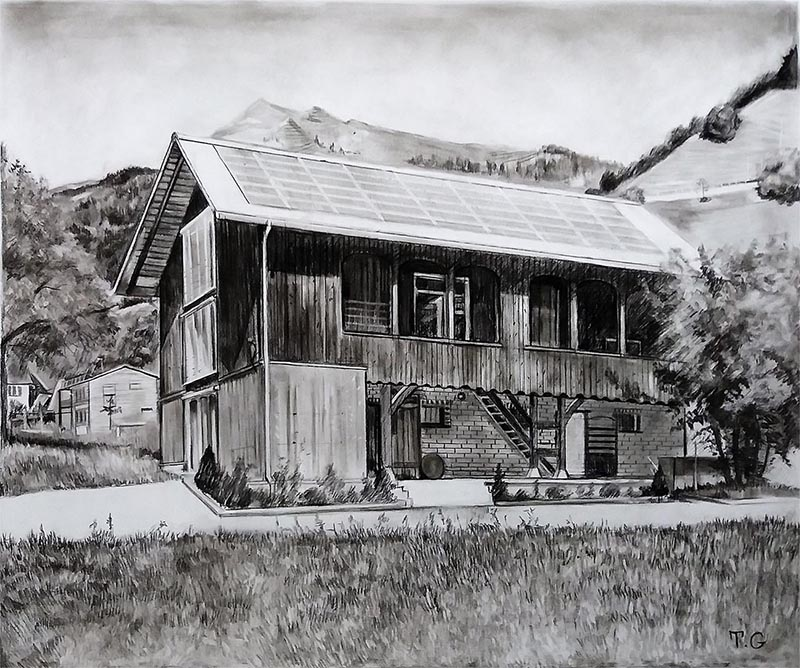 a charcoal drawing of a cabin in the woods