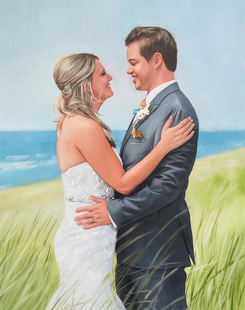 an oil painting of wedding couple in the field